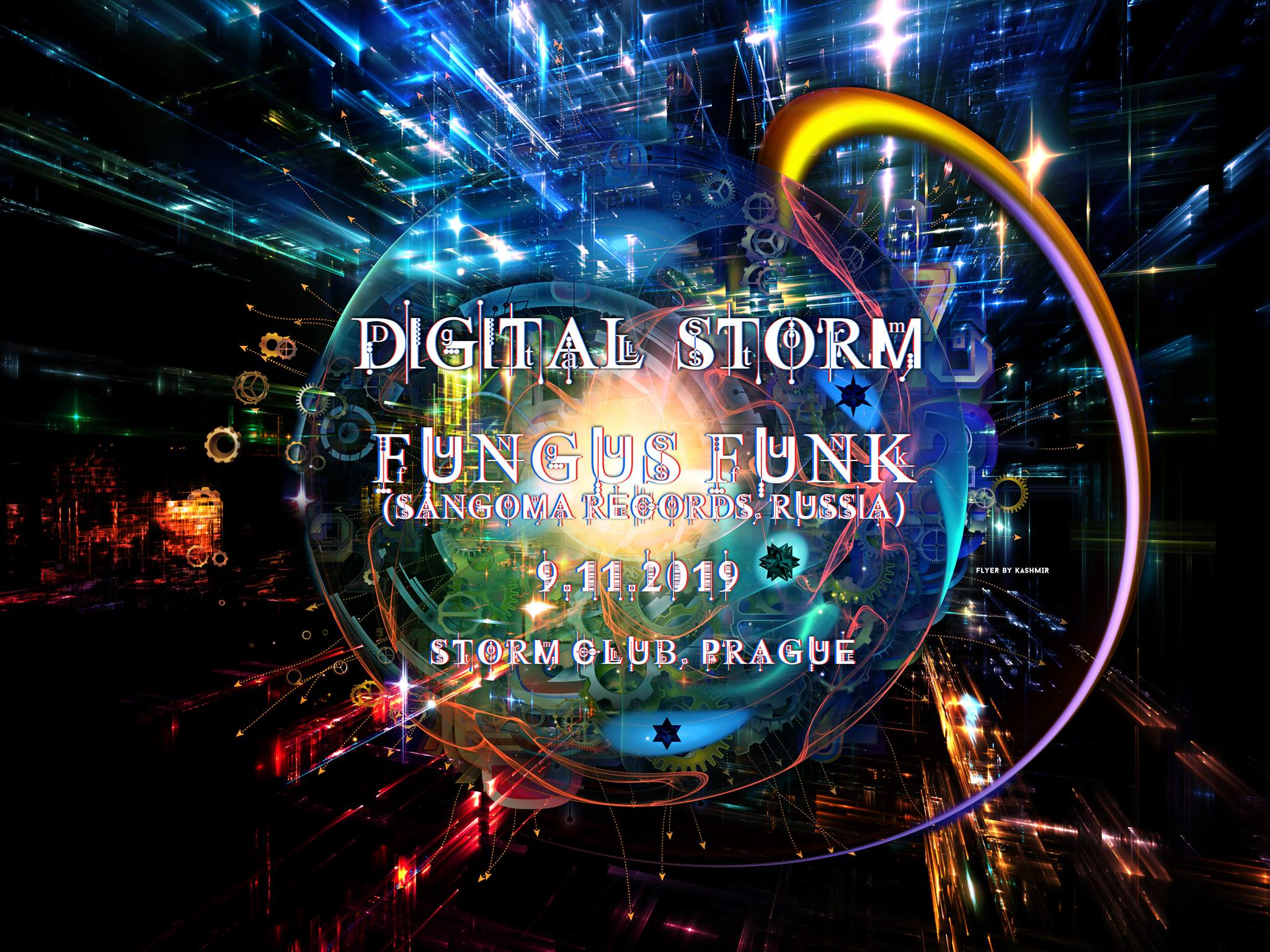 Digital Storm with Fungus Funk flyer
